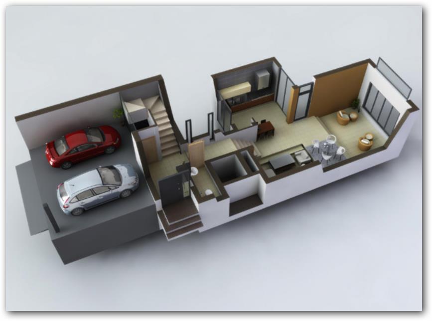 Casa con sotano, planta baja
