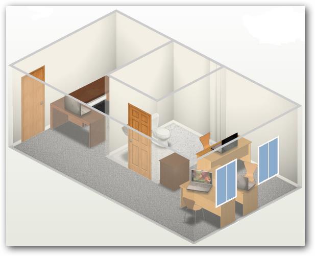 plano de oficina acotada en 3d