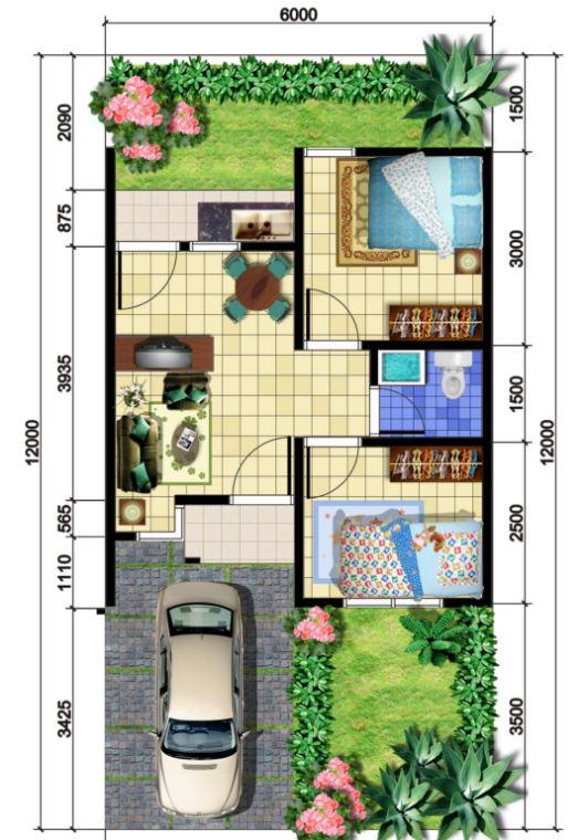 48 metrekare 2 yatak odalı ev planları