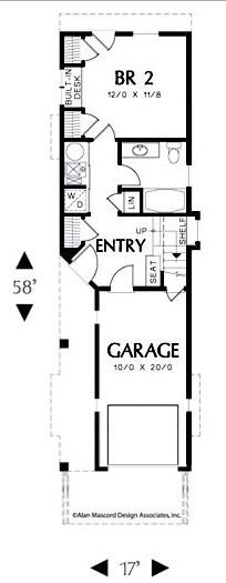 ev planları garaj ile uzun ve dar