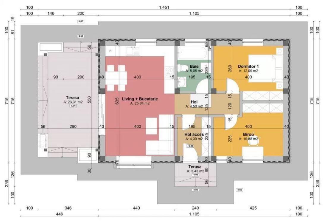 Metrekare ölçüleriyle 2 yatak odalı ekonomik ev planları
