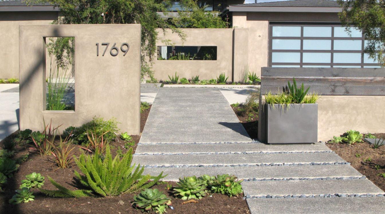 minimalist evlerin kaldırımları