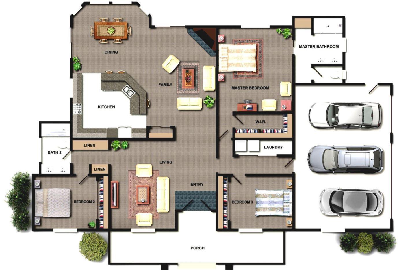 üçlü garajlı 90 metreden fazla ev