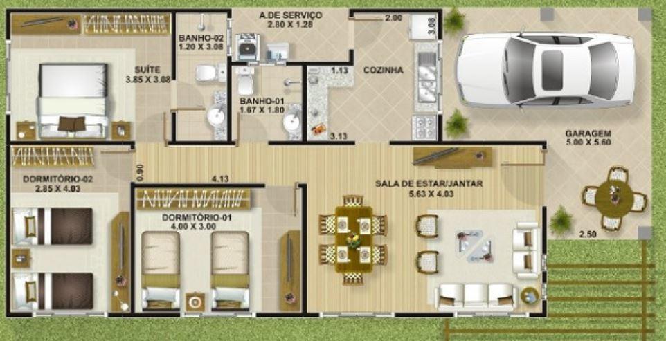 6x15 tek katlı ev planları