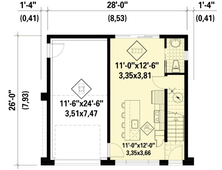 9x8 metrelik ev planı