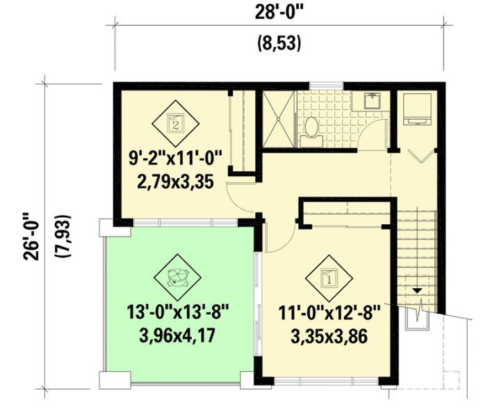 9x8 metrelik ev planları